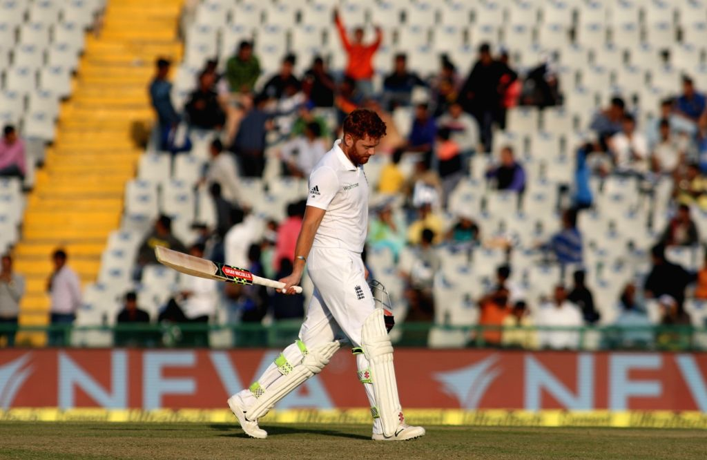 Jonny Bairstow of England walks back to the pavilion after getting dismissed during the third test match between India and England at Punjab Cricket Association IS Bindra Stadium in Mohali on ...