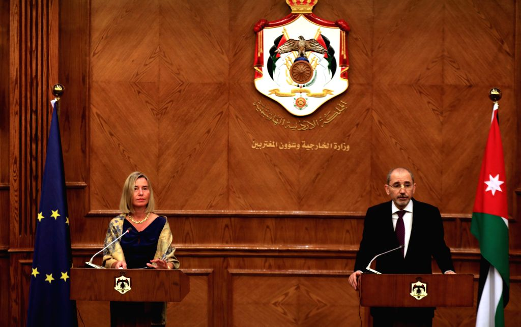 JORDAN, Oct. 8, 2019 - The European Union High Representative for Foreign Affairs and Security Policy and Vice President of the European Commission Federica Mogherini, speaks at a press conference ... - Ayman Safadi