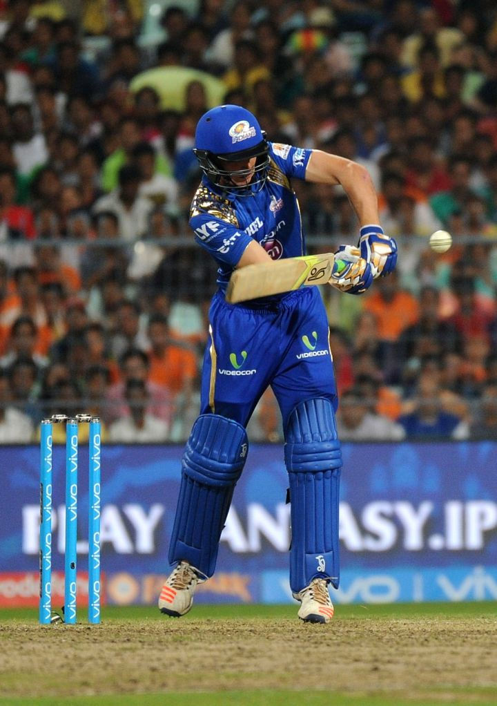 Jos Buttler of Mumbai Indians in action during an IPL match between Kolkata Knight Riders and Mumbai Indians at the Eden Gardens in Kolkata, on April 13, 2016.