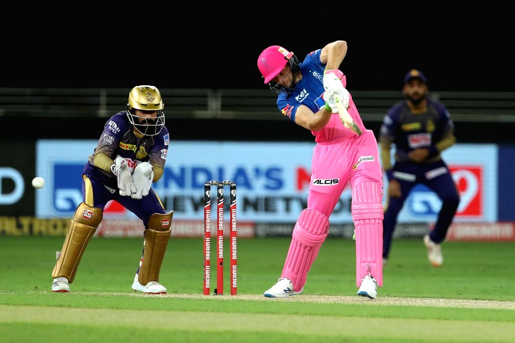 Jos Buttler of Rajasthan Royals during match 12 of season 13 of the Dream 11 Indian Premier League held at the Dubai International Cricket Stadium, Dubai in the United Arab Emirates on the ...