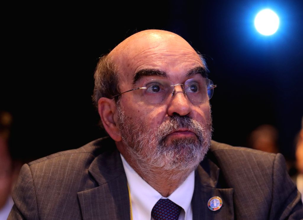 Jose Graziano da Silva, director general of the Food and Agriculture Organization (FAO), listens to a keynote speech by U.N. World Food Programme head David Beasley during an official ...