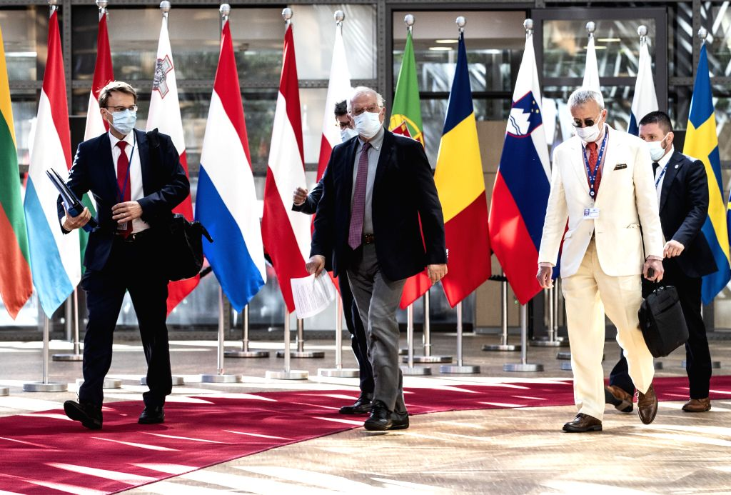 Josep Borrell Fontelles (C), High Representative of the EU for Foreign Affairs and Security Policy, arrives for a meeting of the EU Foreign Affairs Council at the ...