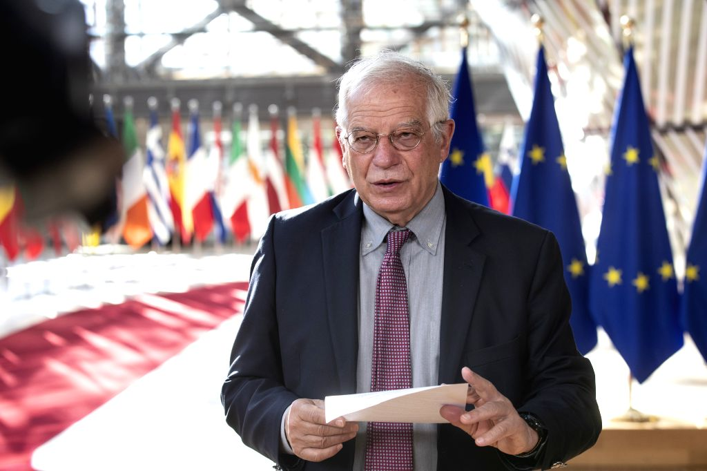 Josep Borrell Fontelles, High Representative of the EU for Foreign Affairs and Security Policy, speaks as he arrives for a meeting of the EU Foreign Affairs ...