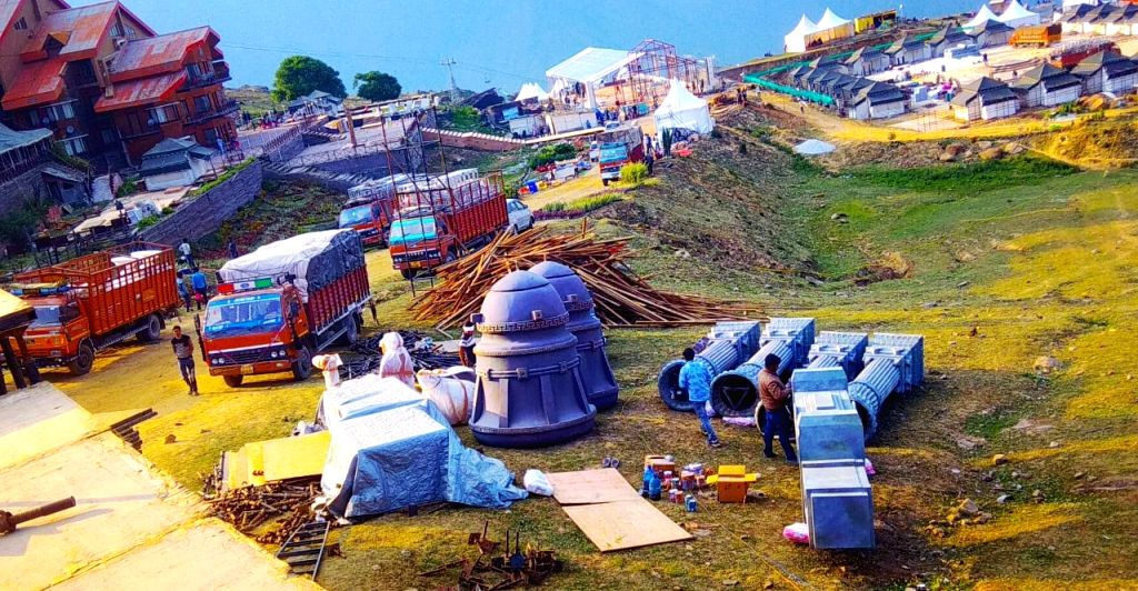 Joshimath: Preparations for the wedding of Ajay Gupta's son Suryakant underway in Joshimath in the Garhwal hills of Uttarakhand on June 14, 2019. Helicopters have been hired to ferry the guests, which will include politicians, business leaders, Bolly - Ajay Gupta