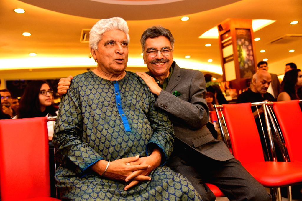 """Journalist and author Khalid Mohamed with poet, lyricist and screenwriter Javed Akhtar at the launch of his book """"The Aladia Sisters"""" in Mumbai on Oct 7, 2019."""