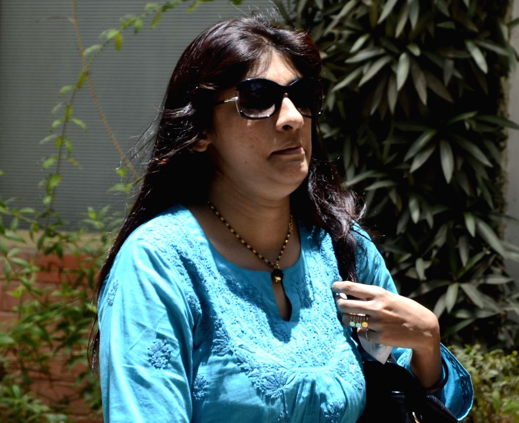 Journalist Jigna Vora, who is accused by the police of orchestrating the murder of Mid-Day journalist J Dey at the Mumbai crime branch on June 3, 2013.  (Photo: Sandeep Mahankal/IANS)