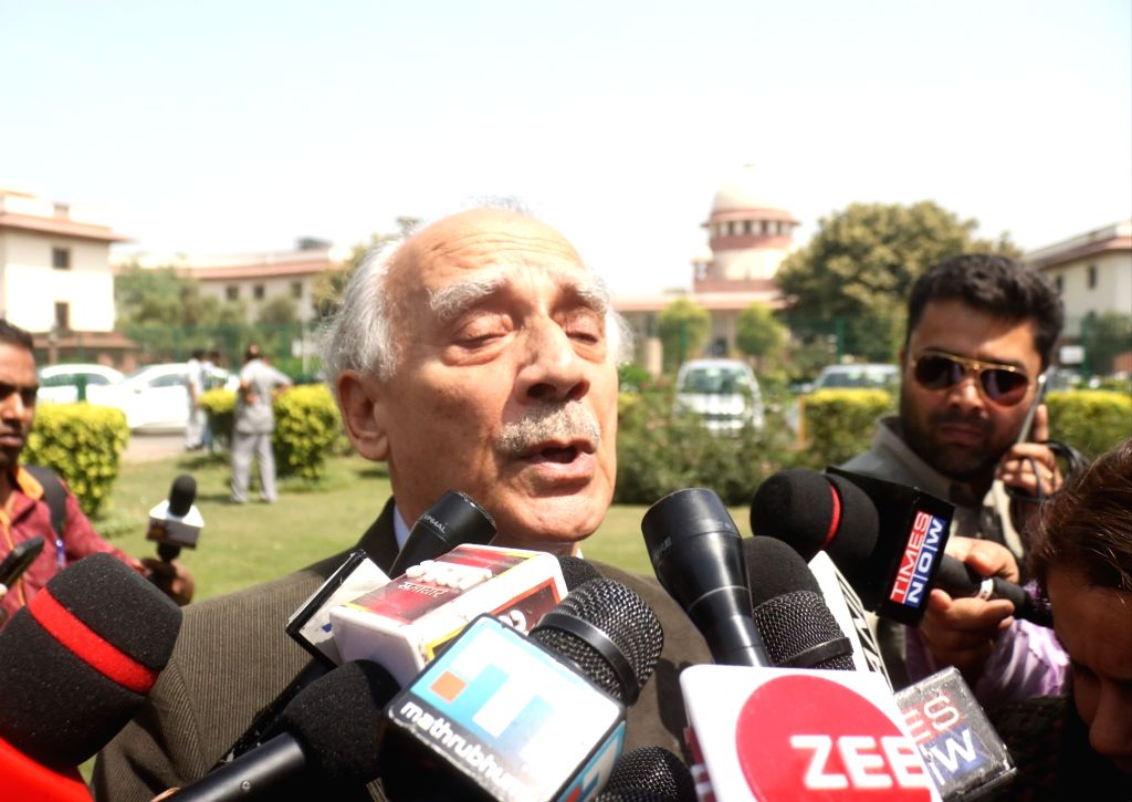 Journalist-turned-politician Arun Shourie talks to media persons at Supreme Court lawn, in New Delhi, on April 10, 2019. Supreme Court in an unanimous judgment rejected the preliminary ...