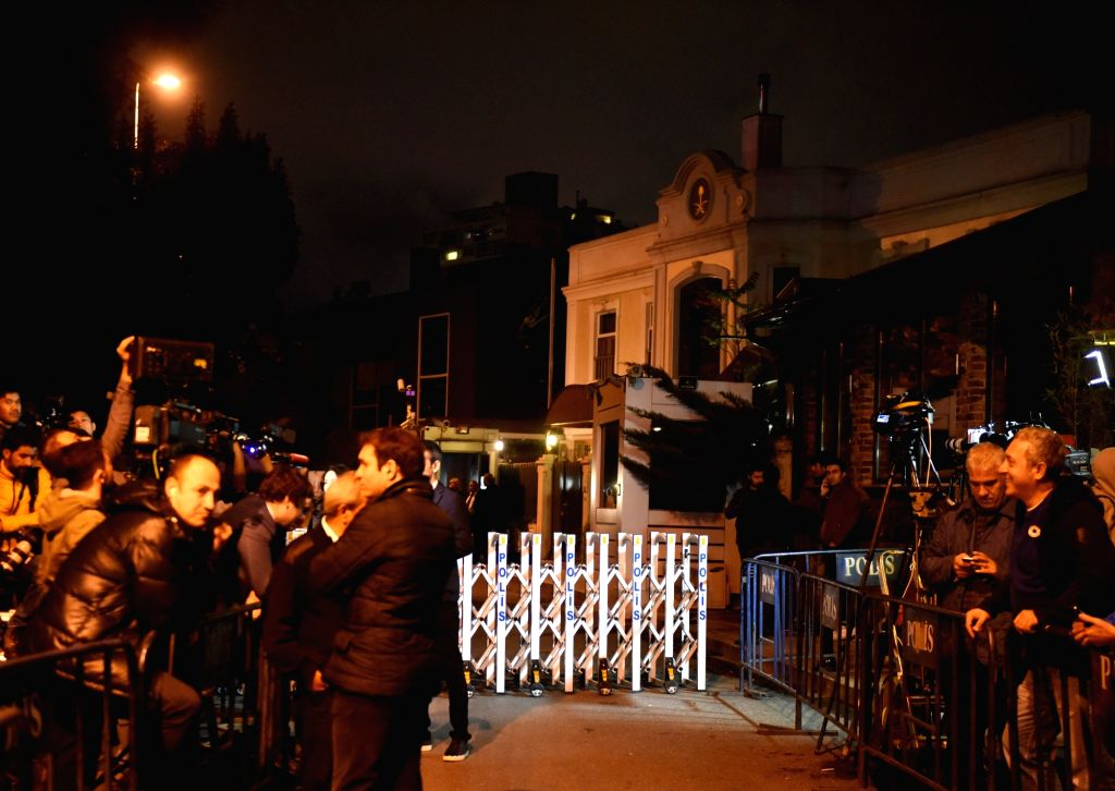 : Journalists gather outside Saudi Arabia's Consul General's residence in Istanbul, Turkey, on Oct. 16, 2018. Saudi Arabia's Consul General ...