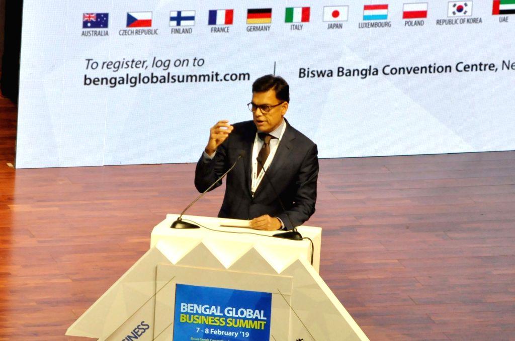 JSW Group Chairman Sajjan Jindal addresses during Bengal Global Business Summit 2019 in Kolkata, on Feb 7, 2019.