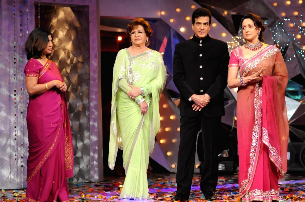 Judges Helen, Jeetendra and Hema Malini with a guest at the Colors Dancing Queen grand finale.