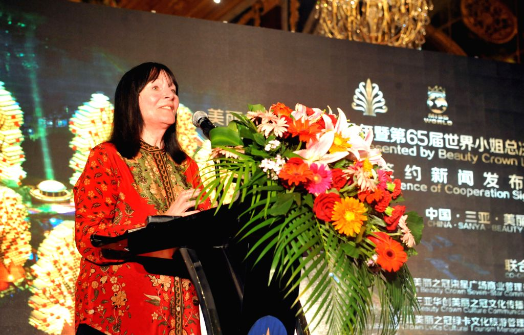 Julia Morley, chairwoman of the Miss World Organization, addresses a press conference in Sanya, south China's Hainan Province, Aug. 6, 2015. Miss World Organization ...
