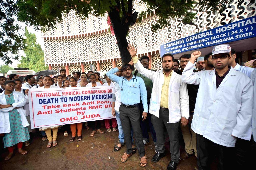 Junior doctors at Osmania General Hospital stage a demonstration against the National Medical Commission (NMC) Bill 2019, in Hyderabad on Aug 3, 2019.