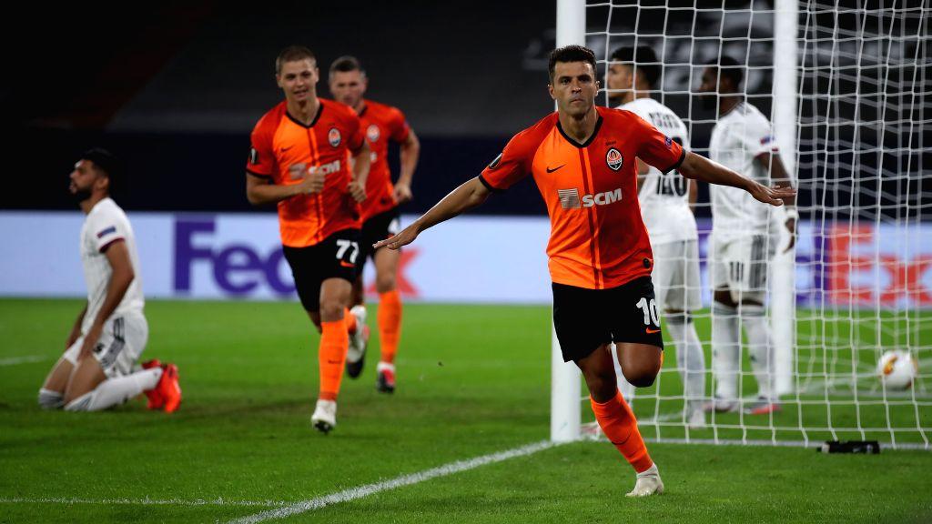 Junior Moraes (front) of Shakhtar Donetsk celebrates after scoring during the UEFA Europa League quarterfinal between Shakhtar Donetsk and FC Basel in ...