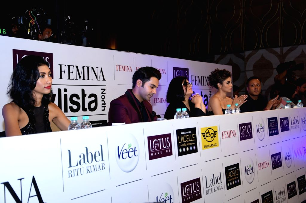 Jury panel including actors Rajkumar Rao and Mouni Roy at Lotus Makeup Femina Stylista North 2019 in Gurugram, on March 29, 2019. - Rajkumar Rao and Mouni Roy