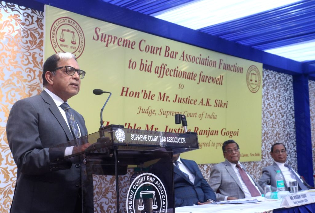 Justice A.K. Sikri addresses during his farewell ceremony in New Delhi, on March 6, 2019.
