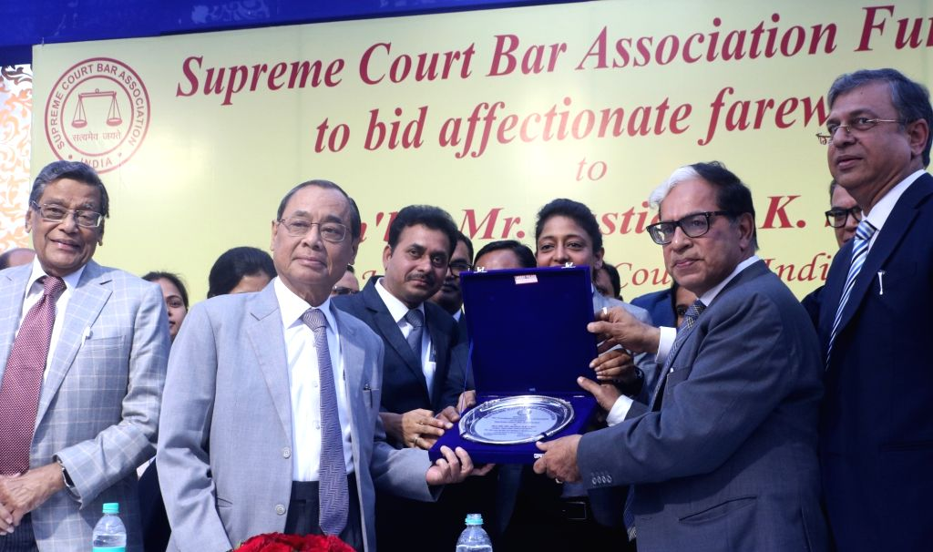 Justice A.K. Sikri with Chief Justice of India Ranjan Gogoi during his farewell ceremony in New Delhi, on March 6, 2019.