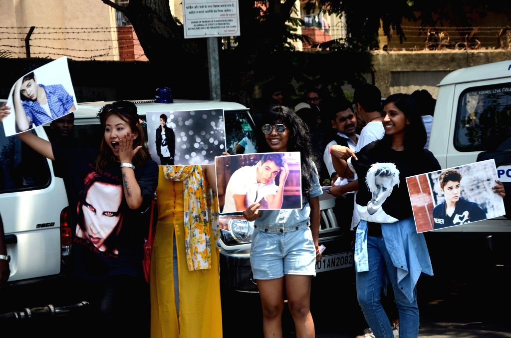 """Justin Bieber fans throng Mumbai Airport to catch a glimpse of Bieber who is expected to land in India on May 9, 2017. His """"Purpose World Tour"""" is to promote his fourth album, the ..."""