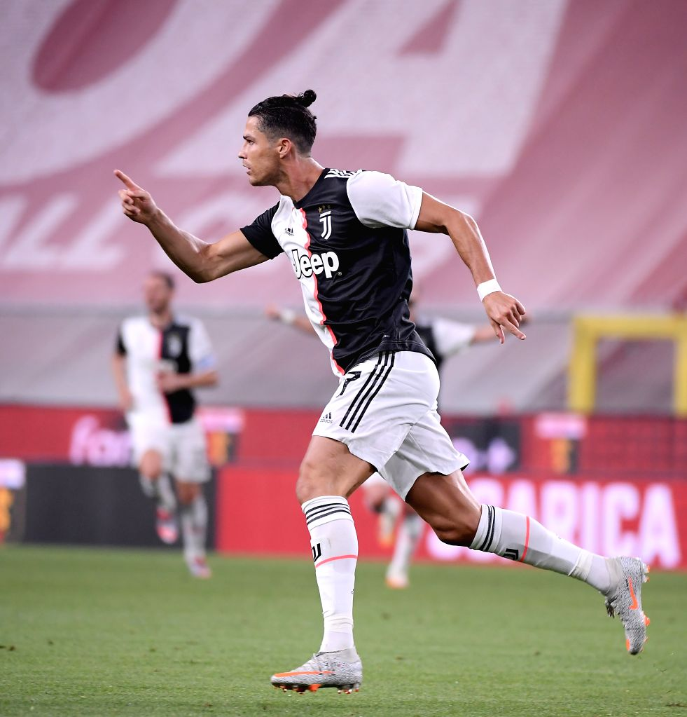 Juventus's Cristiano Ronaldo celebrates his goal during a Serie A football match between Genoa and FC Juventus in Genova, Italy, June 30, 2020.