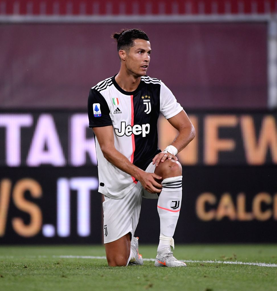 Juventus's Cristiano Ronaldo reacts during a Serie A football match between Genoa and FC Juventus in Genova, Italy, June 30, 2020.