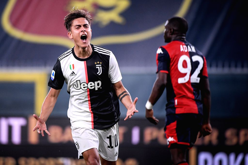 Juventus's Paulo Dybala celebrates his goal during a Serie A football match between Genoa and FC Juventus in Genova, Italy, June 30, 2020.