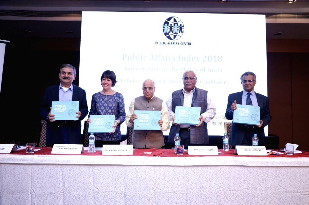 K Kasturirangan (centre) Chairman of Public Affairs Centre, Bengaluru, unveiling Public Affairs Index 2018 in Bengaluru.