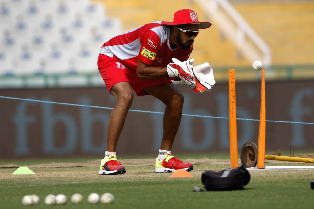 K. L. Rahul of Kings XI Punjab, during a practice session in Mohali on April 7, 2018. - K. L. Rahul