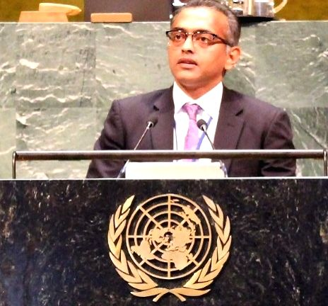 K Nagaraj Naidu, India Deputy Permanent Representative to the United Nations, speaks on Thursday, April 11, 2019, at the General Assembly session commemorating the centenary of the International Labour Organisation. (Photo: Indian Mission/IANS) - K Nagaraj Naidu