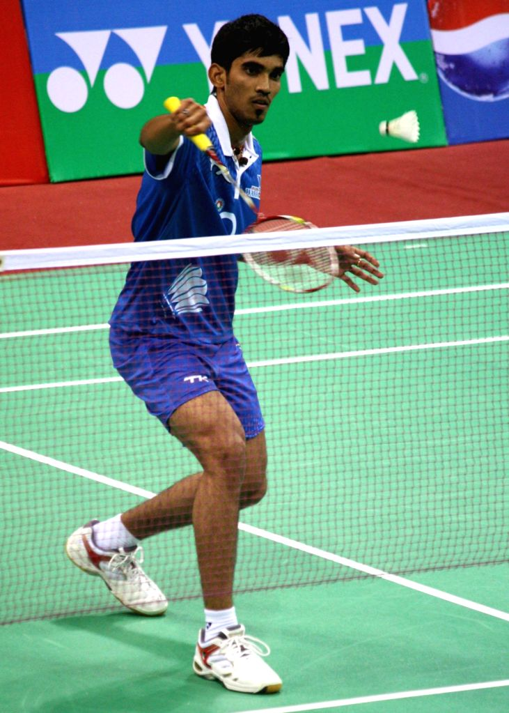 K Srikanth of Awadhe Warriors in action at the Indian Badminton League in New Delhi on August 15, 2013. (Photo::: IANS)
