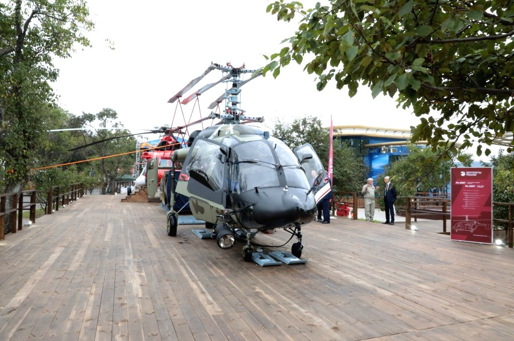 Ka-226T, one of the helicopters showcased by Russia's Rostec State Corporation's holding firm at the biennial 11th edition of Defexpo 2020 for hard -selling them to Indian customers, in ...