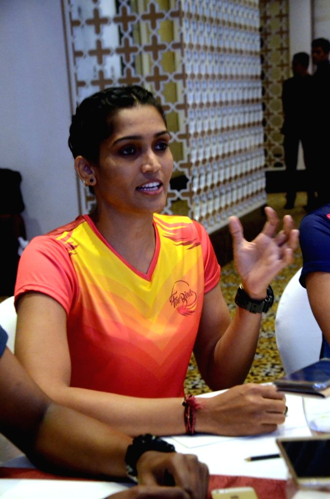 Kabaddi player Mamta Pujari during a press meet in Mumbai, on June 27, 2016.