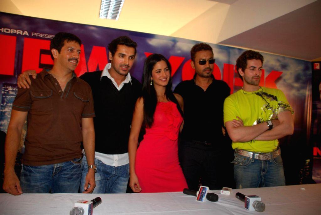 Kabir Khan, John Abraham, Katrina Kaif, Irrfan Khan and Neil Nitin Mukesh at a press meet of the film 'New York' at Yash Raj Studios, in Mumbai. - Kabir Khan and Irrfan Khan