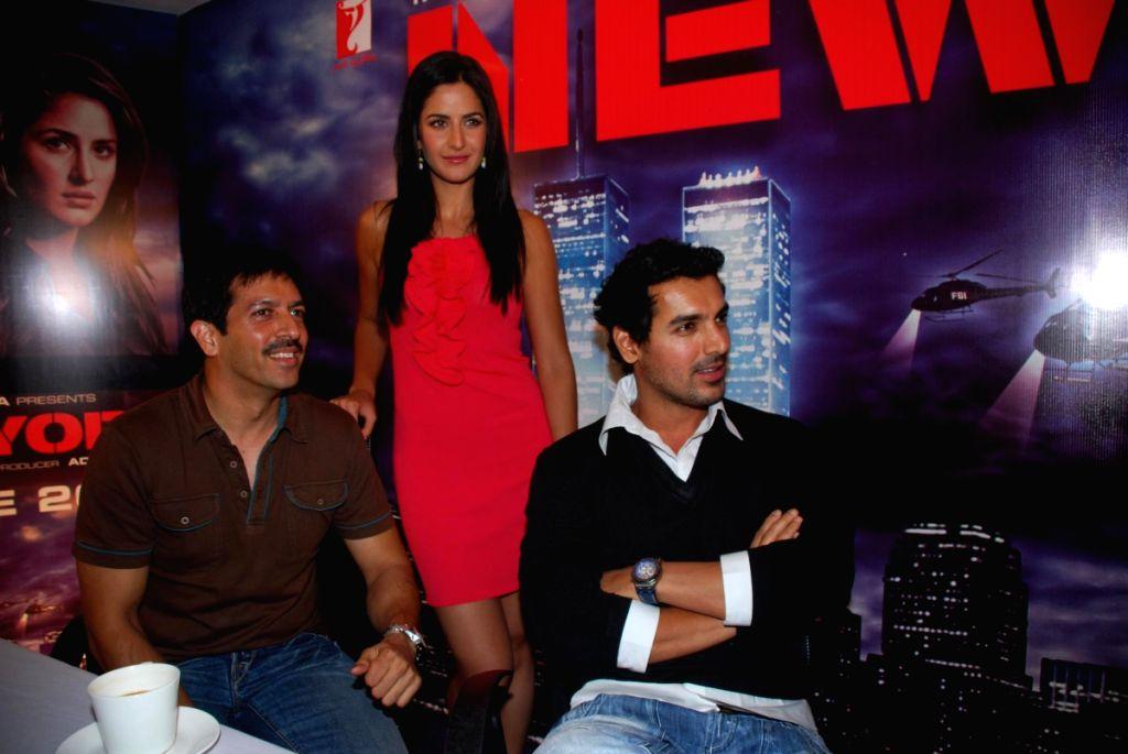 Kabir Khan, Katrina Kaif and John Abraham at a press meet of the film 'New York' at Yash Raj Studios, in Mumbai. - Kabir Khan