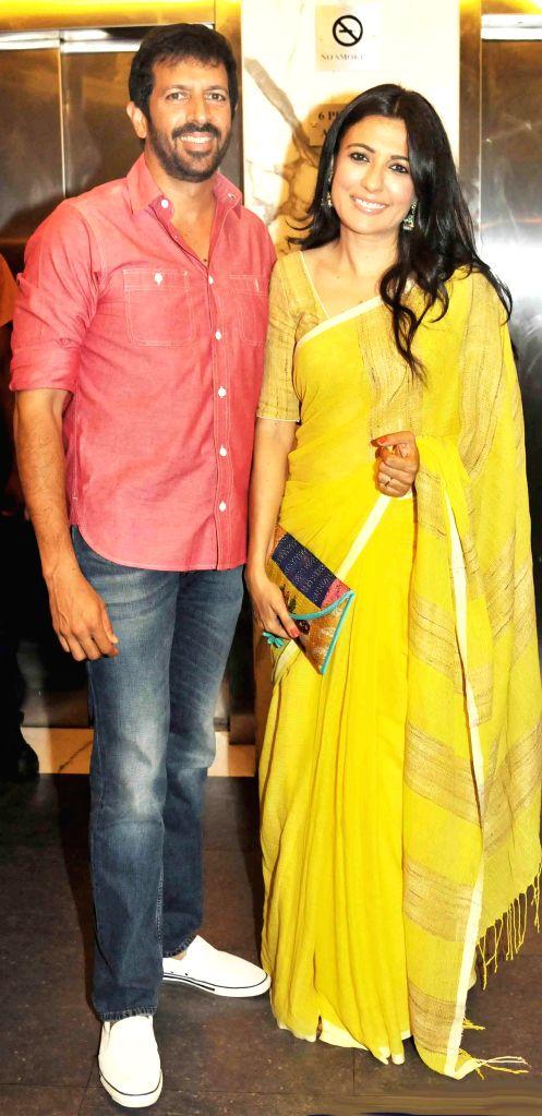 Kabir Khan with wife during special screening of film 2 States at YRF Studios in Mumbai on April 17, 2014. - Kabir Khan