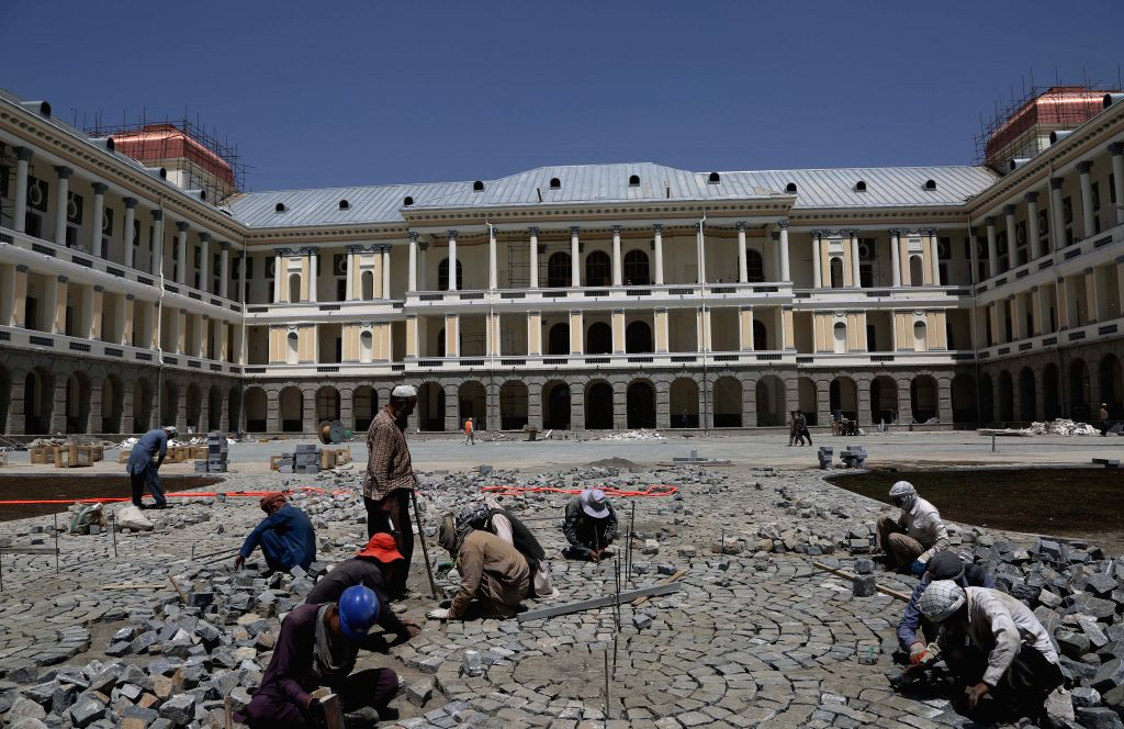 KABUL, Aug. 10, 2019 - Photo taken on Aug. 8, 2019 shows the Darul Aman Palace under reconstruction in Kabul, capital of Afghanistan. The reconstructed Darul Aman Palace with white and yellow color, ...