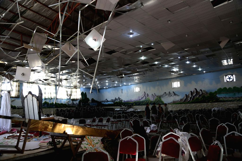 KABUL, Aug. 18, 2019 (Xinhua) -- Photo taken on Aug. 18, 2019 shows a blast site inside Shahr-e-Dubai wedding hall in Kabul, capital of Afghanistan. At least 63 people were killed and over 180 others wounded in Saturday night's suicide explosion at a