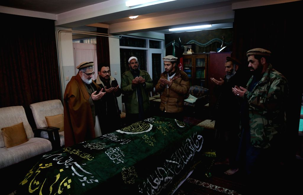 KABUL, Feb. 12, 2019 - Relatives and friends offer their condolences to the passing away of former Afghan president Sibghatullah Mujaddadi in Kabul, Afghanistan, Feb. 12, 2019. Former Afghan ...