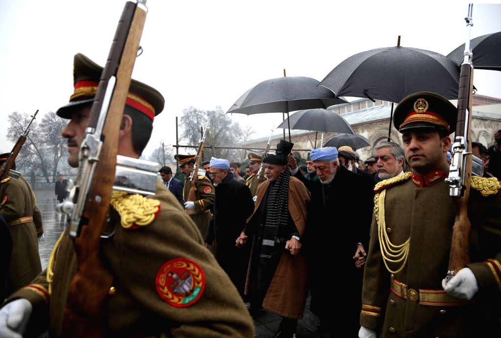 KABUL, Feb. 13, 2019 - Afghan honor guard carry the coffin of Afghan former president Sibghatullah Mujaddadi during a funeral ceremony in Kabul, capital of Afghanistan, Feb. 13, 2019. The body of ...