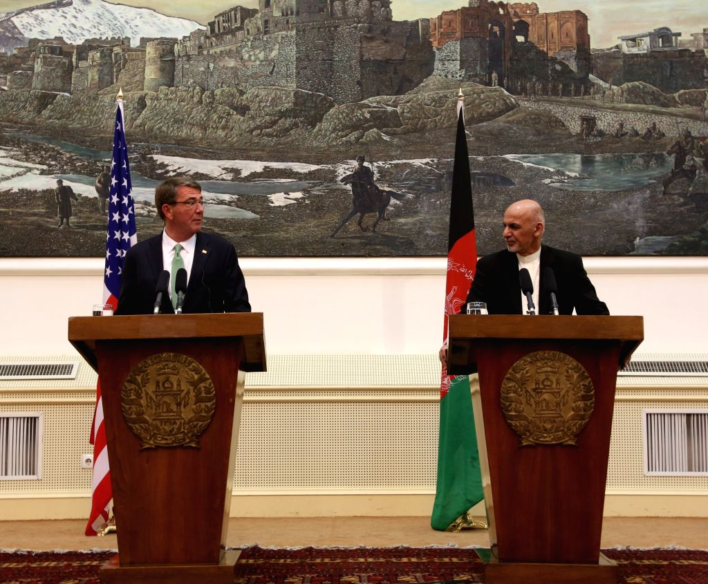 KABUL, July 12, 2016 - Afghan President Mohammad Ashraf Ghani (R) and U.S. Defense Secretary Ash Carter attend a joint press conference in Kabul, capital of Afghanistan, July 12, 2016. U.S. Defense ...