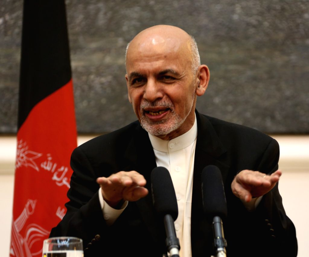 KABUL, July 12, 2016 - Afghan President Mohammad Ashraf Ghani speaks during a press conference with U.S. Defense Secretary Ash Carter (unseen) in Kabul, capital of Afghanistan, July 12, 2016. U.S. ...