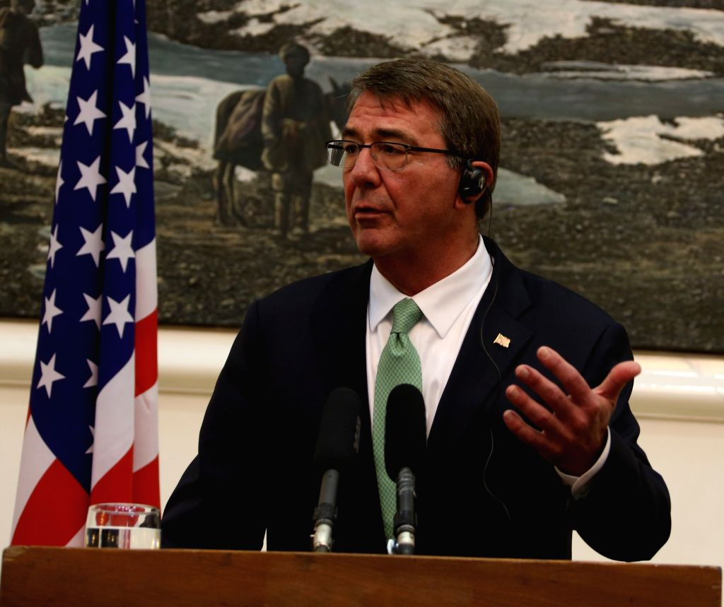 KABUL, July 12, 2016 - U.S. Defense Secretary Ash Carter speaks during a press conference with Afghan President Mohammad Ashraf Ghani (unseen) in Kabul, capital of Afghanistan, July 12, 2016. U.S. ...