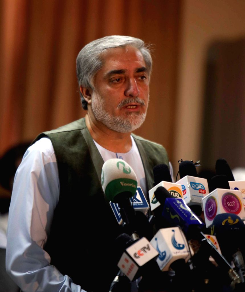 Afghan presidential candidate Abdullah Abdullah speaks during a press conference in Kabul, Afghanistan, on July 17, 2014. Afghanistan on Thursday started auditing of .