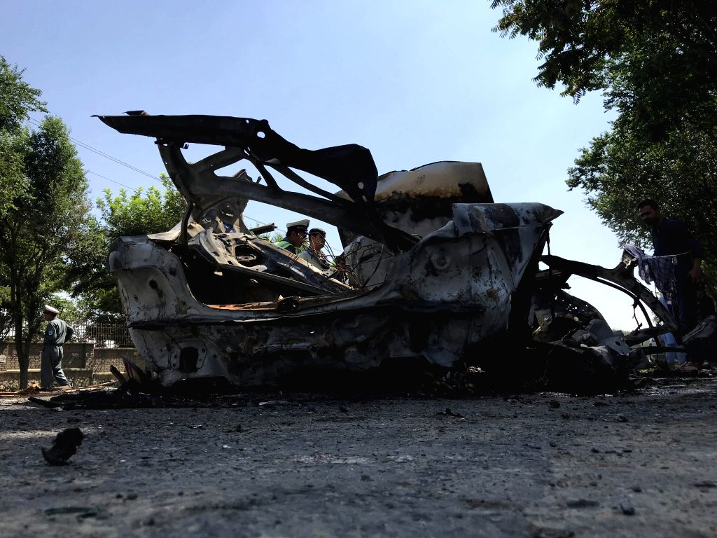KABUL, July 19, 2019 - Photo taken on July 19, 2019 shows damaged vehicle in a blast at the southern gate of Kabul University in Kabul, Afghanistan. Four people were killed and 16 others sustained ...