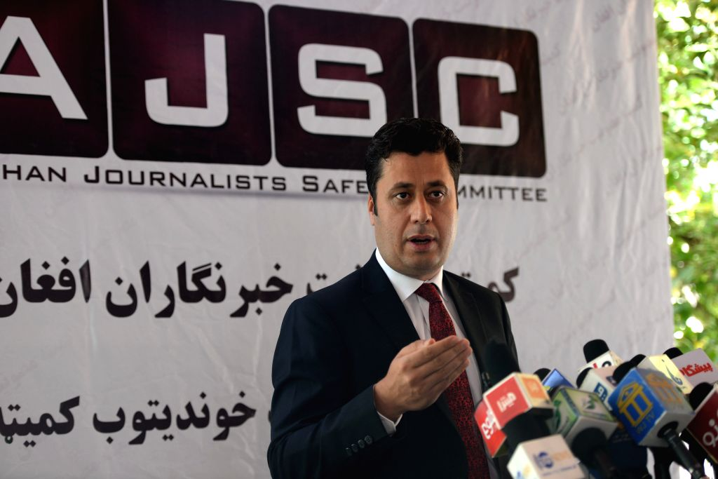 KABUL, July 26, 2017 - Najib Sharifi, head of Afghan Journalists Safety Committee (AJSC), speaks at a press conference in Kabul, Afghanistan, July 25, 2017.