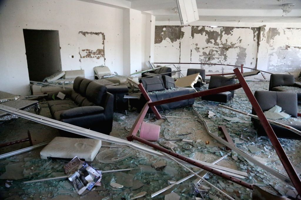 KABUL, June 1, 2017 - Photo taken on June 1, 2017 shows a damaged office near the site of a car bomb explosion in Kabul, capital of Afghanistan. The Afghan National Directorate of Security (NDS), the ...
