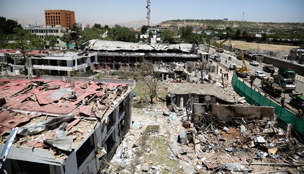 KABUL, June 1, 2017 - Photo taken on June 1, 2017 shows the site of a car bomb explosion in Kabul, capital of Afghanistan. The Afghan National Directorate of Security (NDS), the primary intelligence ...