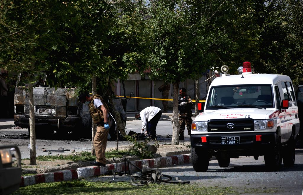 KABUL, June 3, 2019 - Afghan security force members are seen at the site of an attack in Kabul, Afghanistan, June 3, 2019. Five people were confirmed dead and 10 others sustained injuries as a bomb ...