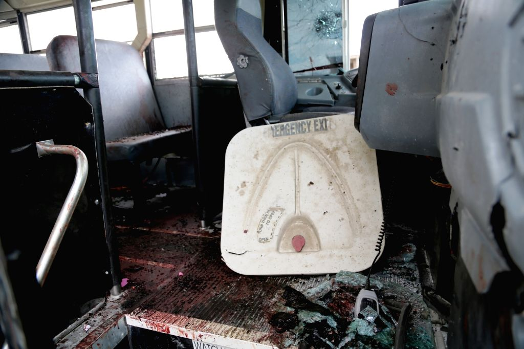 KABUL, June 30, 2016 - Photo taken on June 30, 2016 shows an inside view of a destroyed bus after a suicide attack in Kabul, Afghanistan. Two suicide explosions hit Afghan police convey of five buses ...