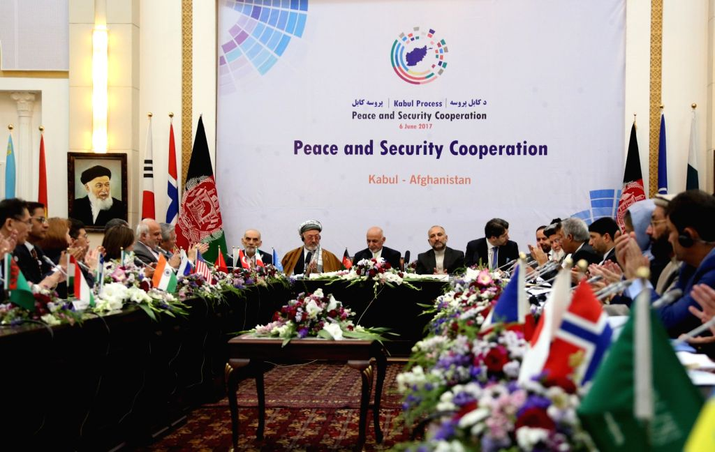 """KABUL, June 6, 2017 - Photo taken on June 6, 2017 shows a scene of the """"Kabul Process"""" conference in Kabul, capital of Afghanistan. An international conference titled """"Kabul ..."""