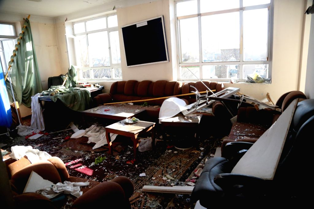 KABUL, March 2, Photo taken on March 2, 2017 shows a damaged office at the site of an attack in Kabul, capital of Afghanistan. The death toll has risen to 17 while 119 others were wounded ...