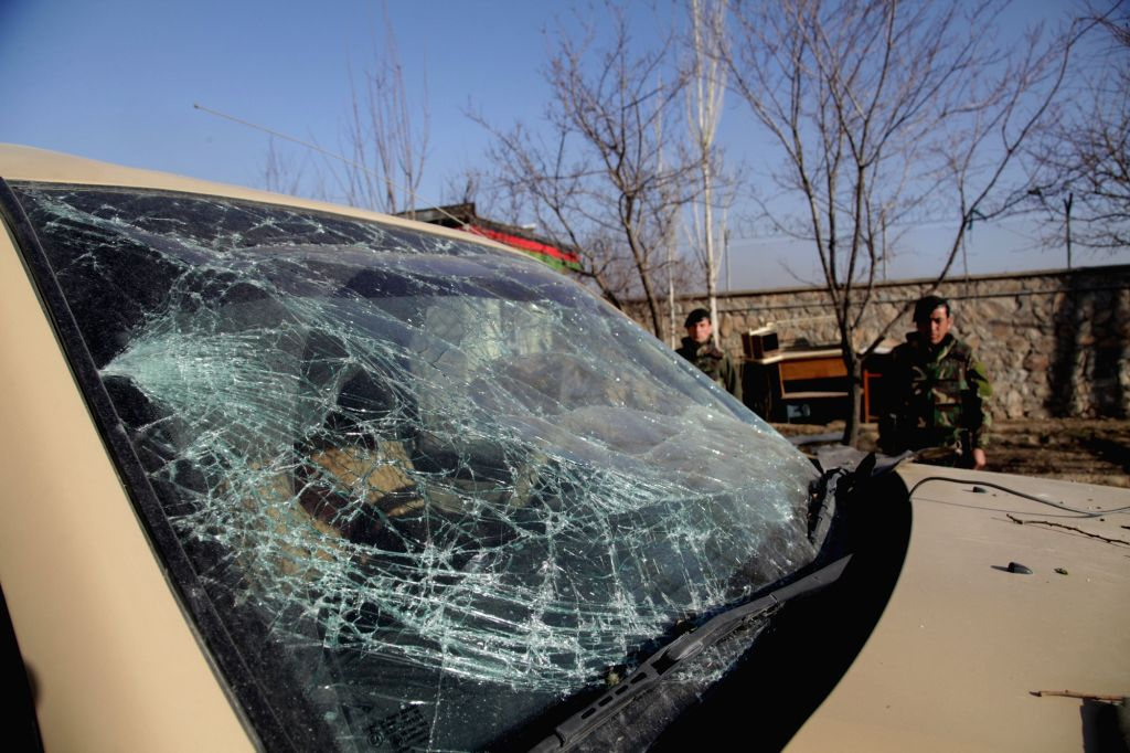 KABUL, March 2, Photo taken on March 2, 2017 shows a damaged windshield of a military vehicle at the site of an attack in Kabul, capital of Afghanistan. The death toll has risen to 17 ...